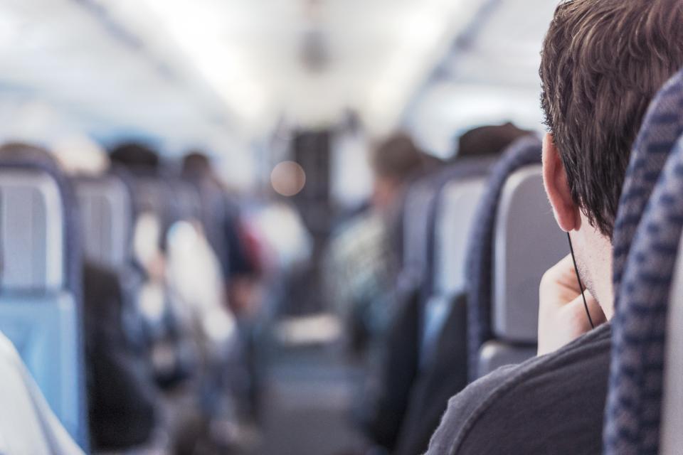 airplane aisle seats travel transport trip