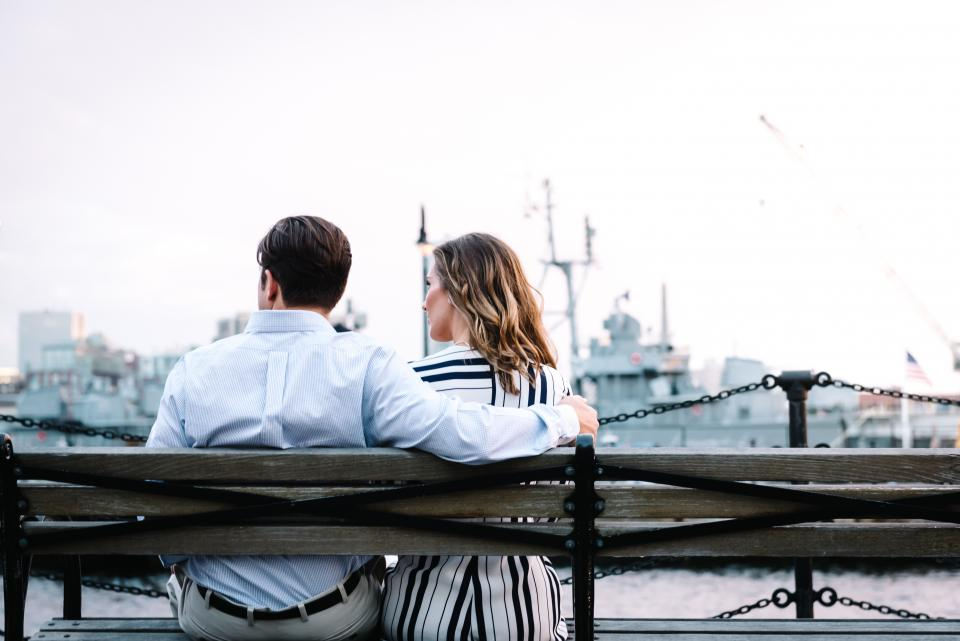 couple formal man woman people love bench port
