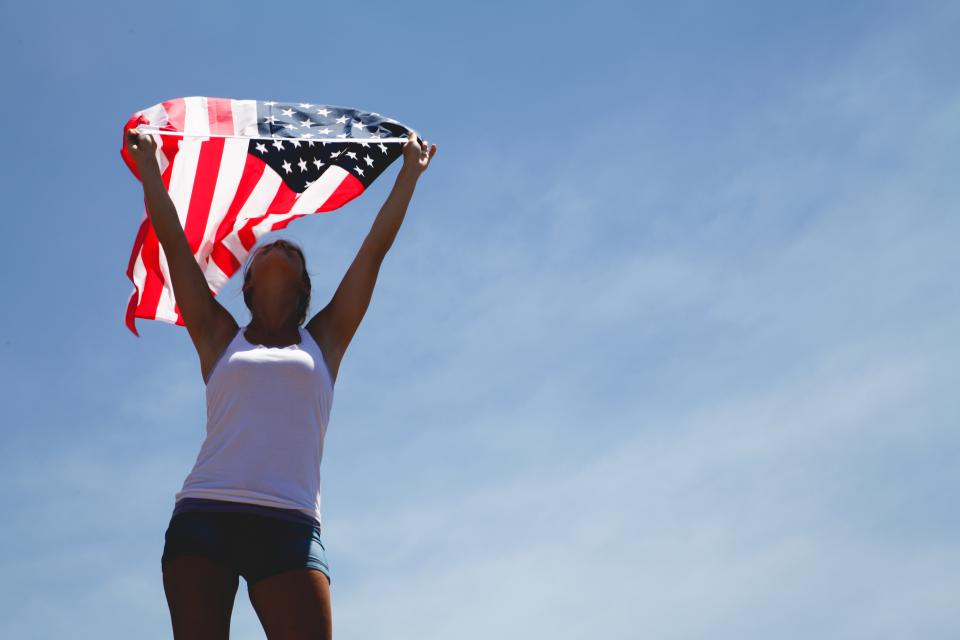 flag, woman, people, raise, clouds, sky, proud, united states, us, stars