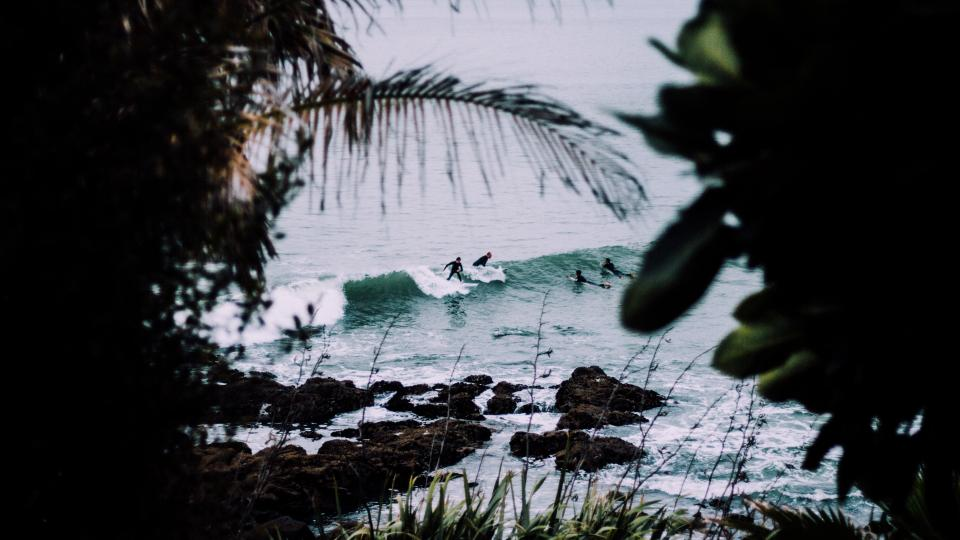 sea, ocean, water, waves, nature, trees, plant, rocks, coast, people, swimming, sport, surfing