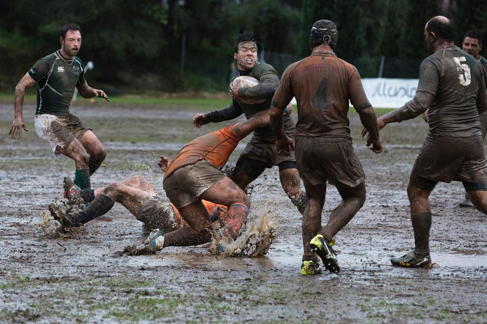 people, men, outdoor, nature, field, sport, game, tournament, mud, grass, ball