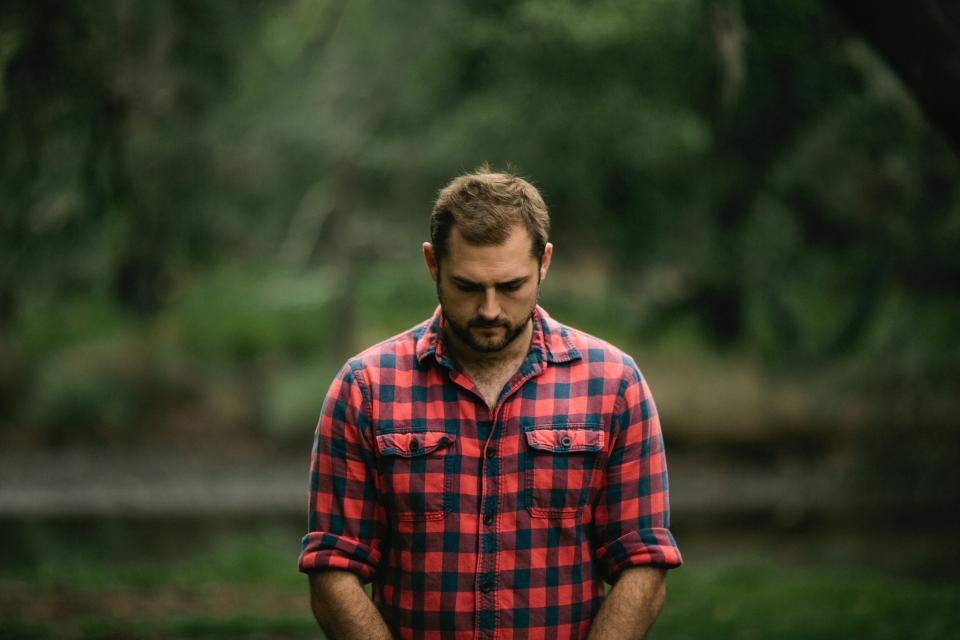 people, man, checkered, flannel, sad, trees, nature, green, alone