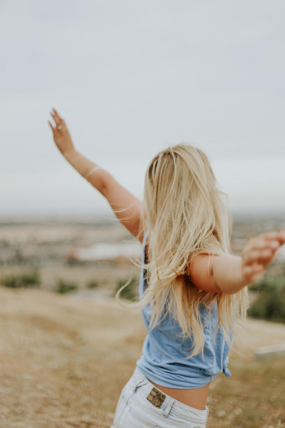 people, woman, blonde, happy, enjoy, freedom, nature, windy