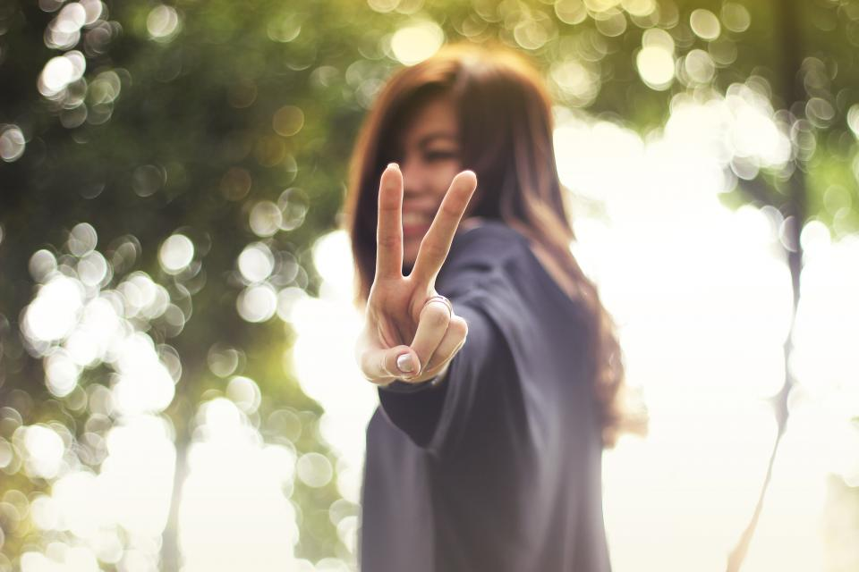 people girl blur bokeh hand finger ring peace nature smile happy asian