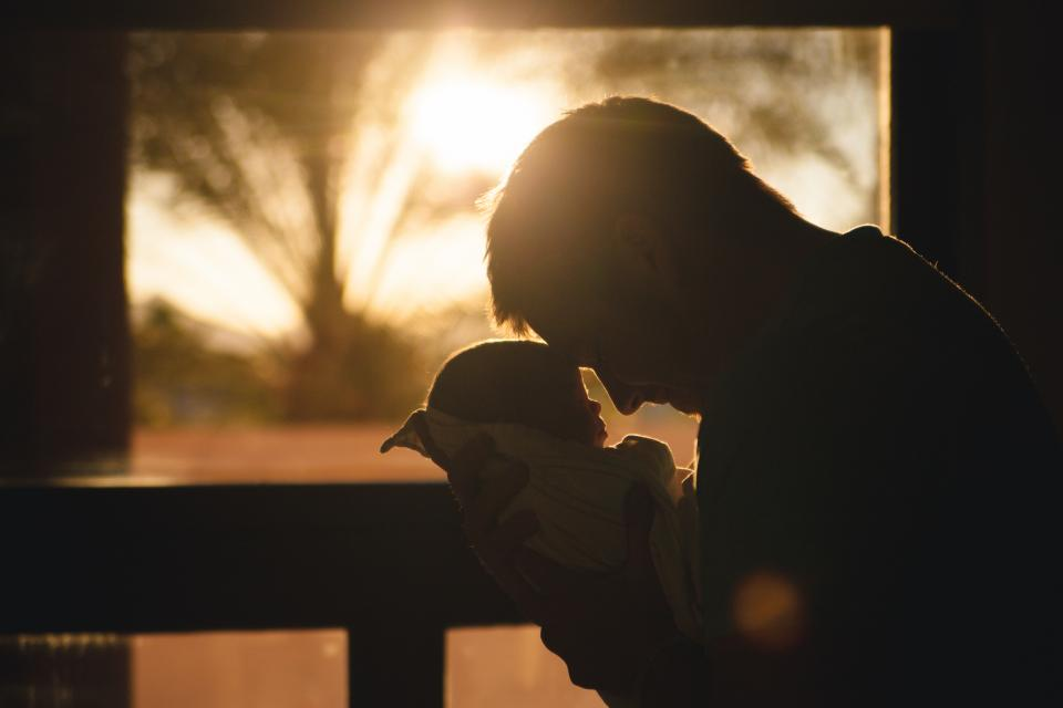 baby child father parent guy man people love silhouette shadow sunrise morning family