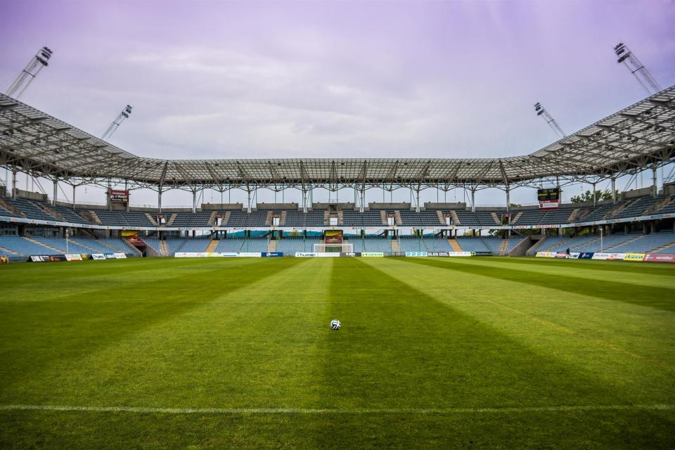 soccer, ball, field, grass, sports, stadium, fitness, exercise, sky, clouds, lights