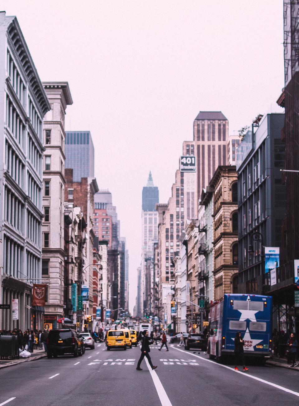 architecture, building, infrastructure, blue, sky, skyscraper, tower, city, urban, skyline, road, car, vehicle, lane, transportation, people, crowd, community
