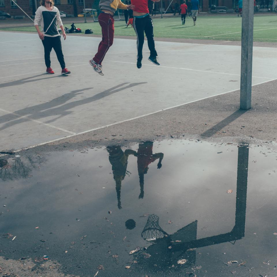 basketball, court, sports, athletes, fitness, exercise, fun, jumping, reflection, puddle, oslo, team