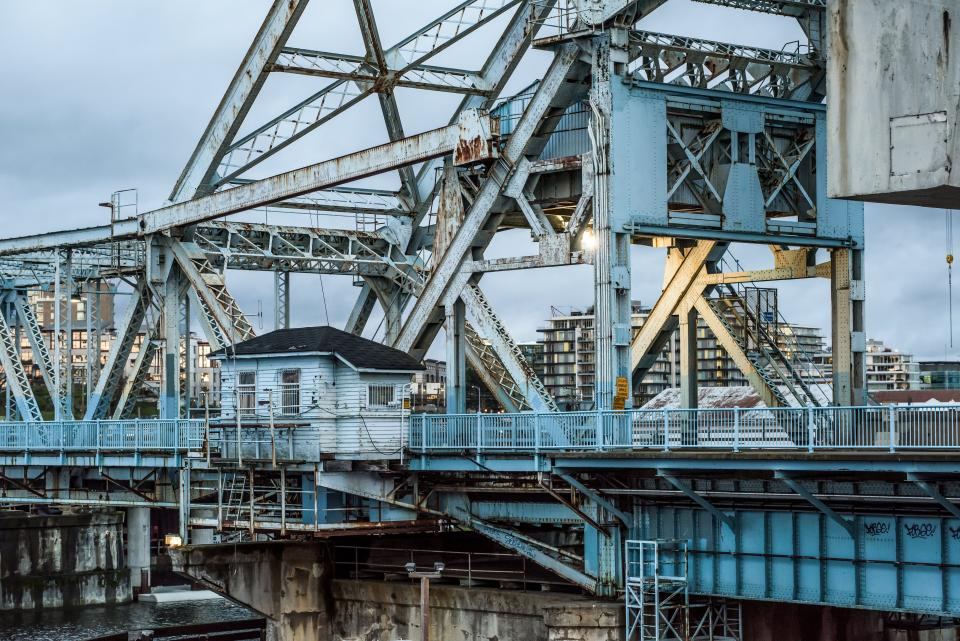 architecture structures bridges walkways lodge steel beams posts industrial blue
