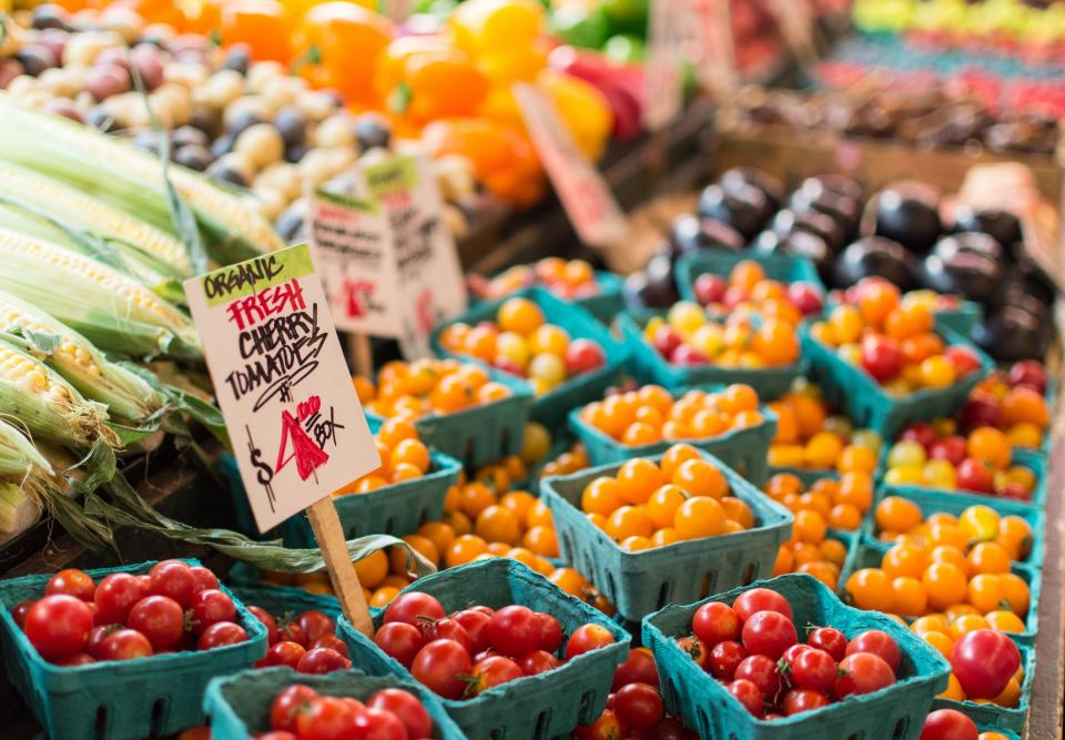 cherry tomatoes fruits corn market sell sign price orange food basket sale organic fresh
