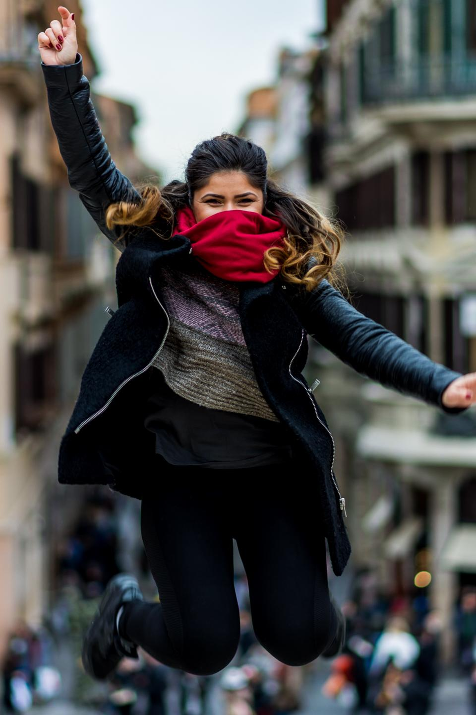 people, girl, woman, jump, mask, smile, happy, blur