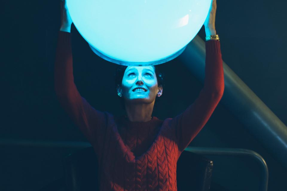 people woman ball light fun dark night smile happy