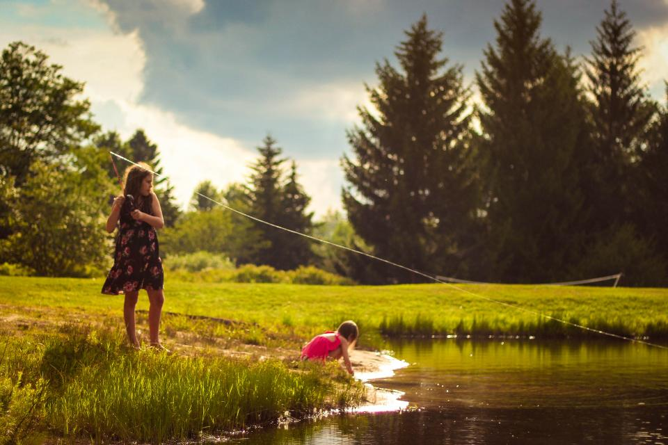 lake, water, people, woman, mother, daughter, kid, baby, playing, green, grass, nature, trees, plant, cloud, sky, outdoor