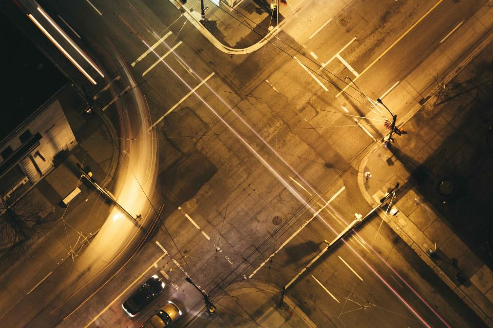 street road city car vehicle travel night lights