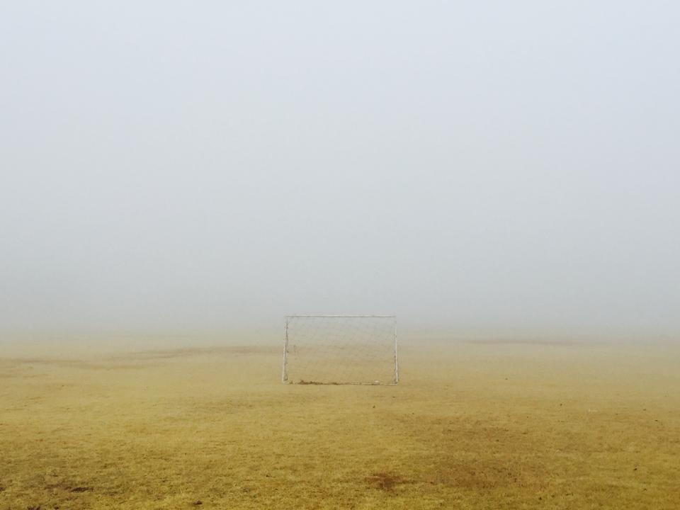 nature, landscape, field, soil, dirt, fog, soccer, football, goal, post, gradient, white, brown