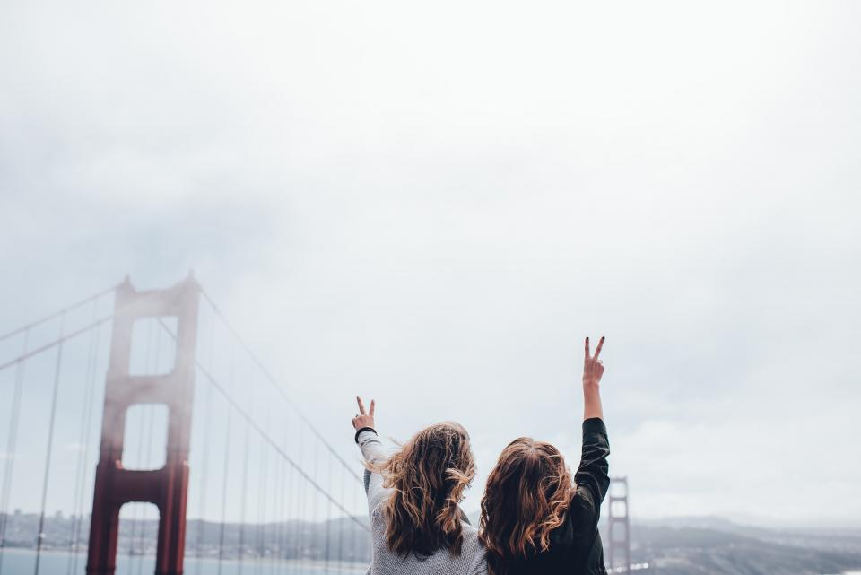 peace girls women people golden gate bridge San Francisco architecture sky clouds cloudy friends