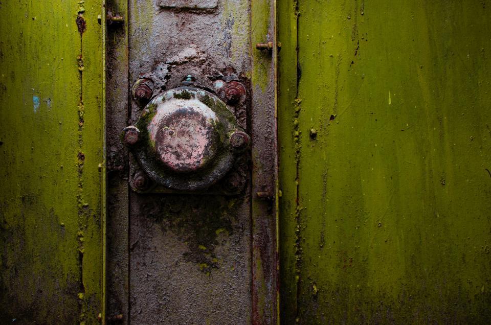 old, rust, door, lock, green, paint, steel