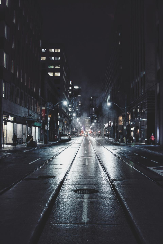 architecture, buildings, infrastructure, dark, night, lights, street, road, car, vehicle, city, urban, tower, skyline, people, crowd, walking