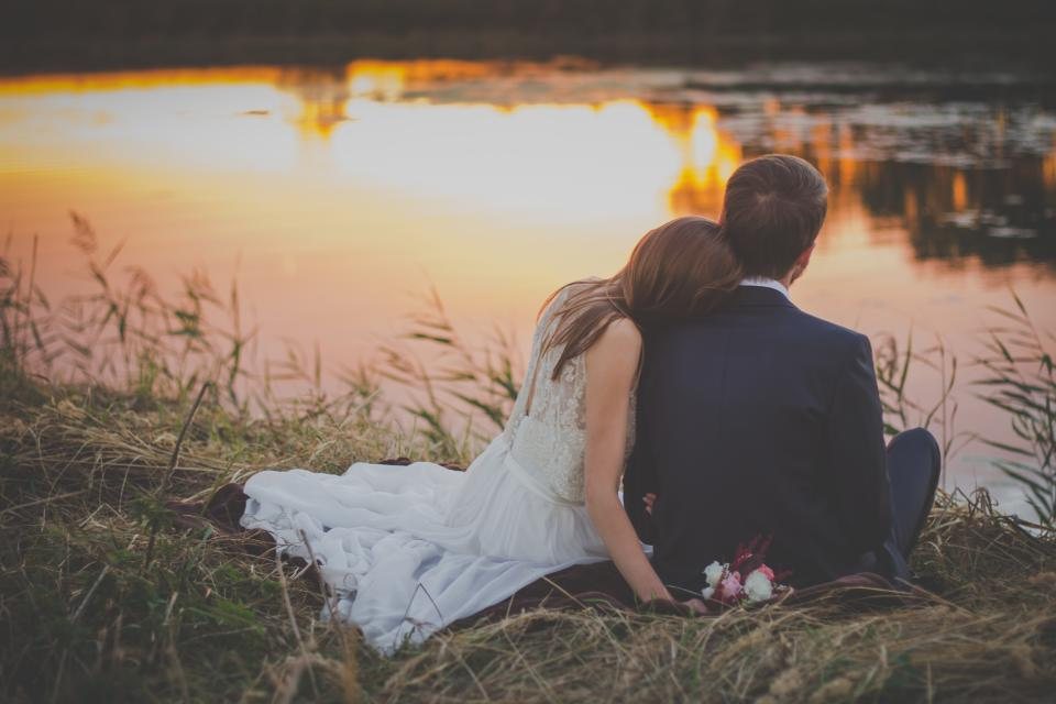 wedding, bride, groom, woman, man, people, love, couple, romance, sunset, lake, water, grass, outdoors, nature, family
