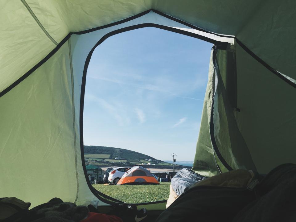 green, tent, camping, outdoor, travel, adventure, green, grass, car, vehicle, transportation, cloud, sky
