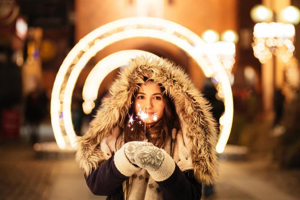 holiday, christmas, lights, people, woman, cold, weather, snow, fur, jacket, fashion, beauty