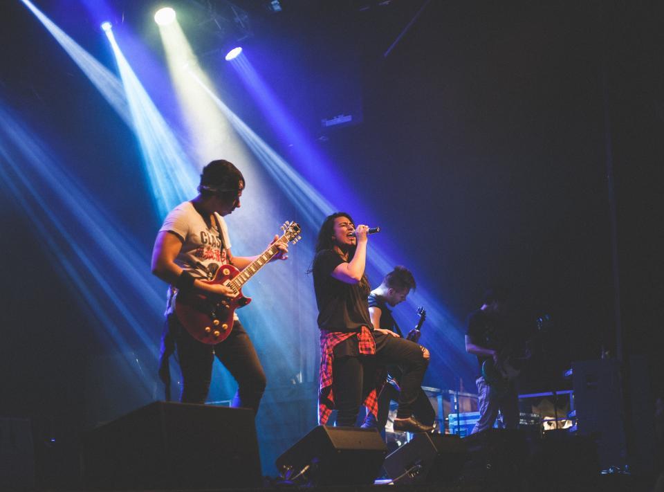 people, men, stage, music, guitar, musician, singer, concert, spotlight, musical, instrument, performance