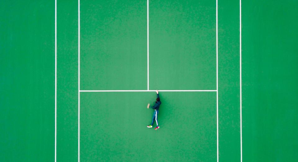 green, sports, tennis, court, people, man, guy, lines, illusion