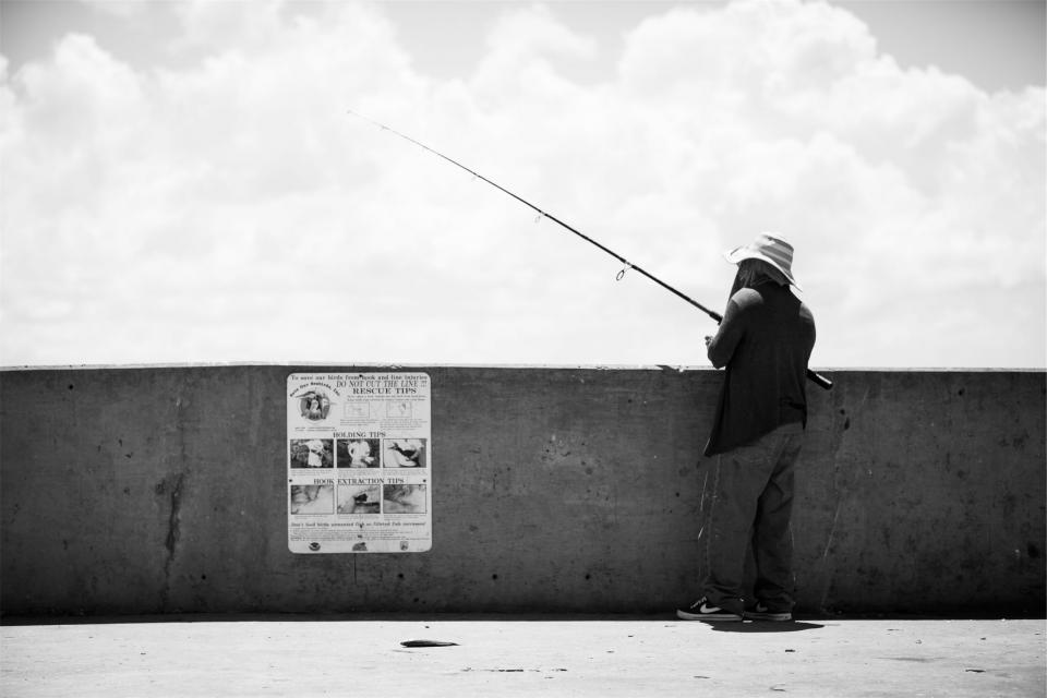 fisherman, fishing, rod, pier, black and white
