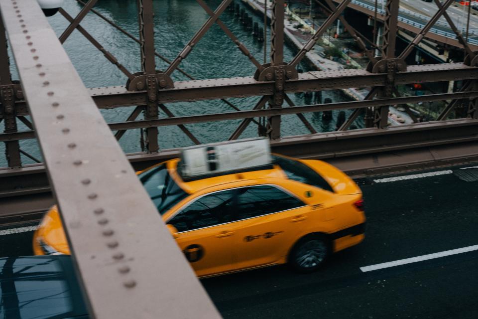car, vehicle, taxi, transportation, road, bridge, architecture, structure, infrastructure