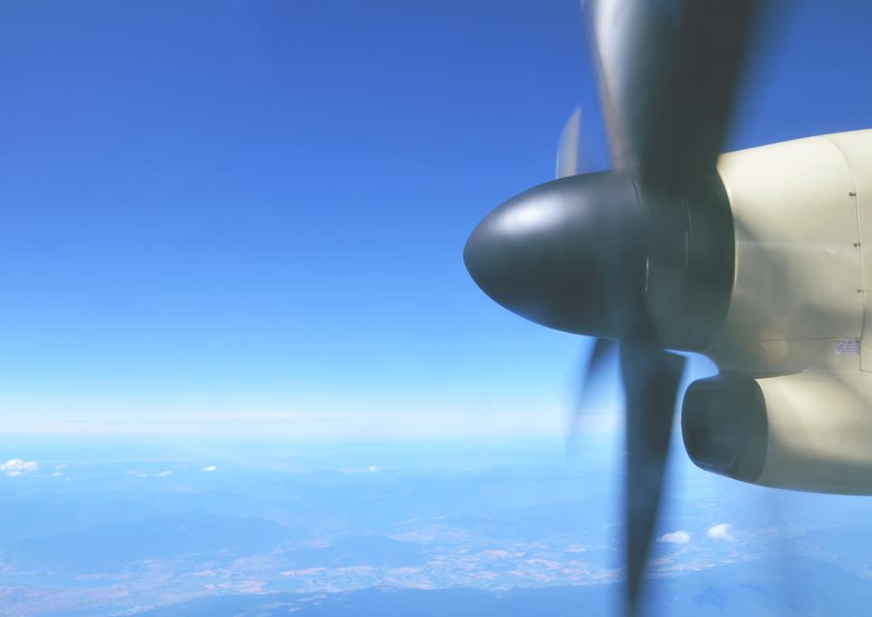 airplane, propeller, transportation, travel, trip, blue, sky, aerial, view
