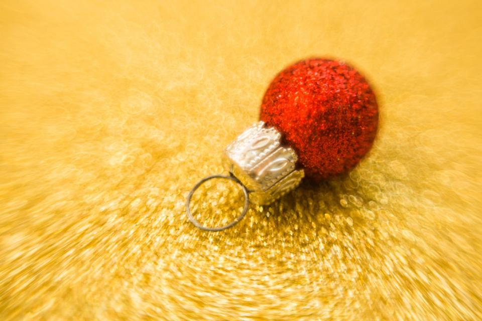 christmas ornament gold red ball decoration glitters