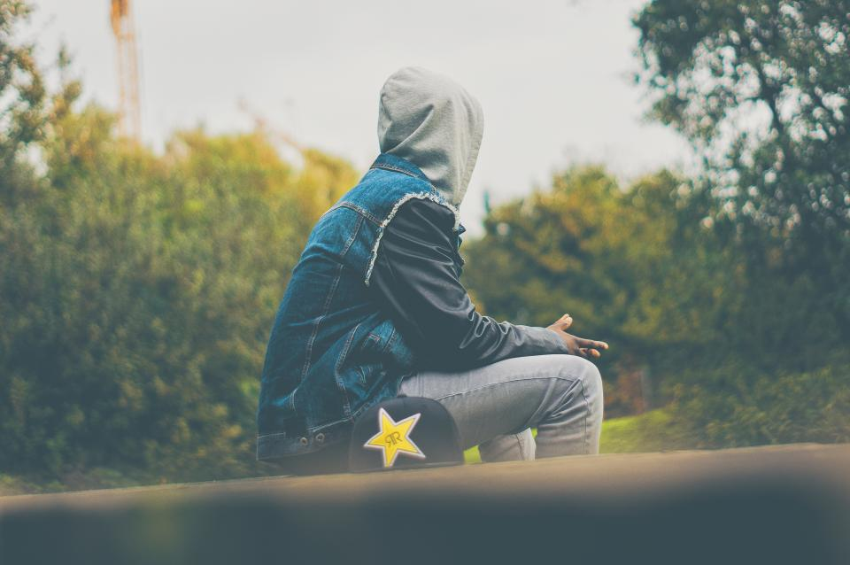 people, man, sitting, alone, sad, hoodie, cap, trees, plant, outdoor, nature