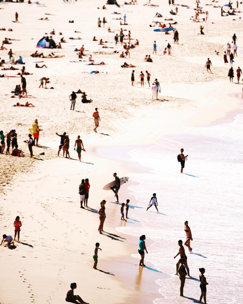 sea, ocean, water, waves, nature, beach, coast, sand, shore, people, crowd, family, friends, swimming, outdoor, summer, vacation, travel