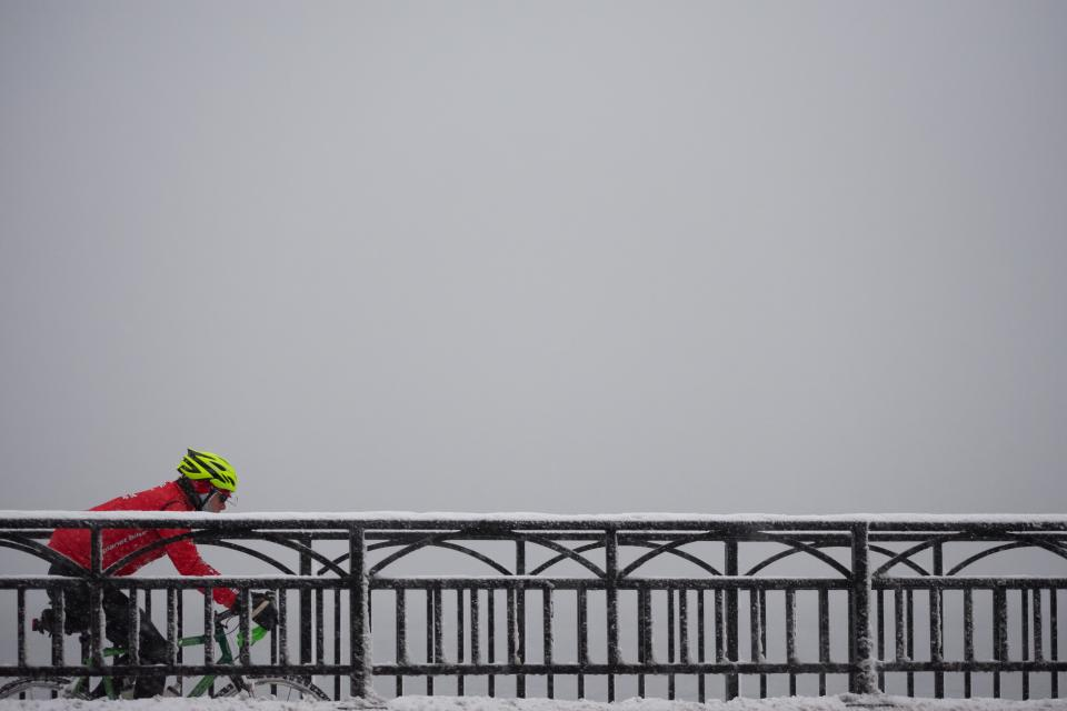 bridge, architecture, sky, people, man, bike, bicycle, travel, outdoor, adventure, snow, winter, helmet, horizon