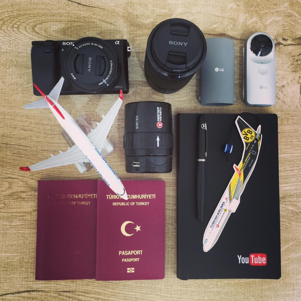 airplane, business, camera, passport, notebook, pen, photography, portable, retro, smartphone, sticker, technology, tour, travel, work