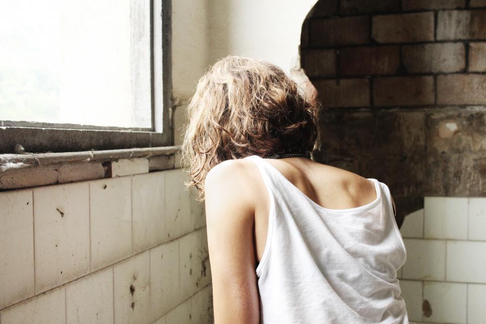 girl, woman, people, bricks, room, window, sad