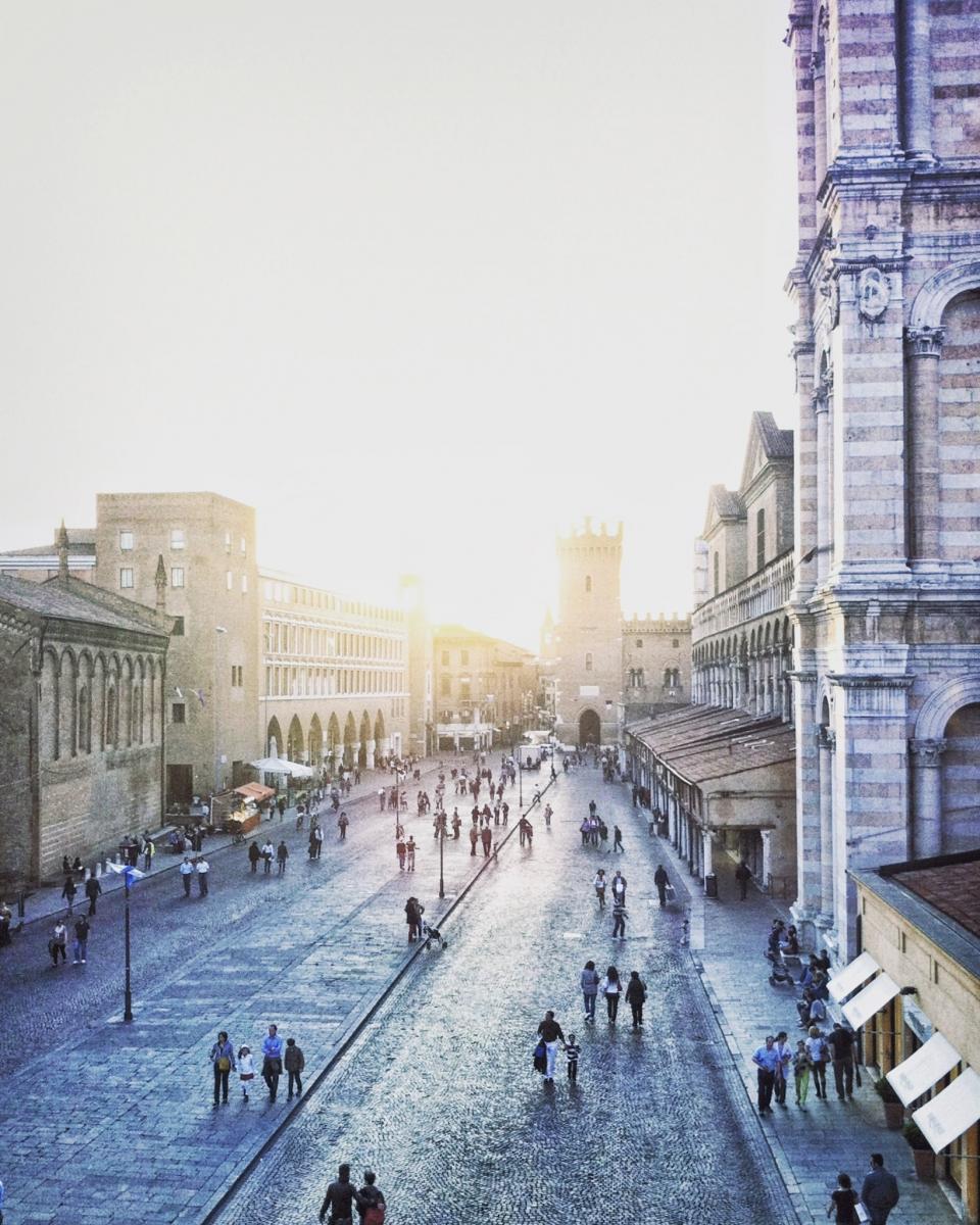 architecture, building, infrastructure, blue, sky, sunrise, street, road, people, crowd, men, women, kids, walking, sidewalk
