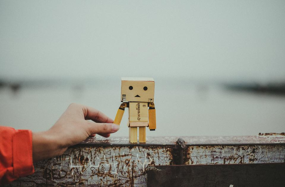 hand steel wall danbo fictional character sad box cardboard