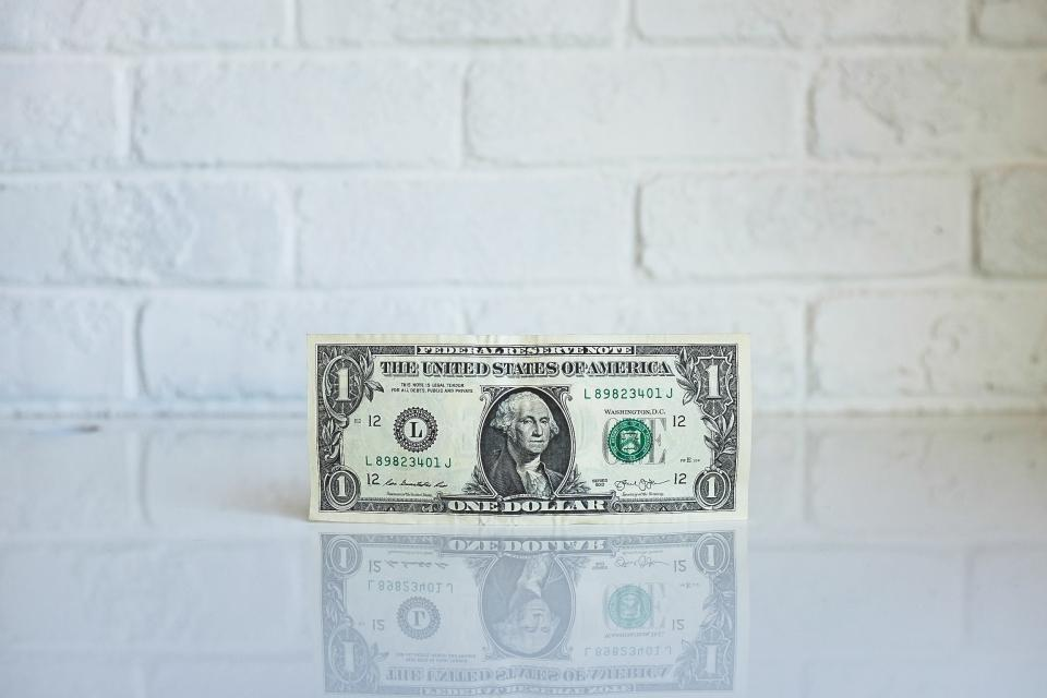 dollar, money, bill, reflection, white, wall