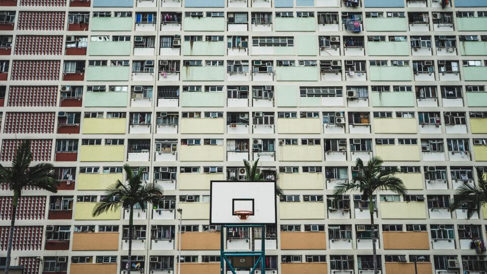 building, structure, infrastructure, window, glass, establishment, hotel, city, urban, architecture, trees, basketball, court, sports, player, team