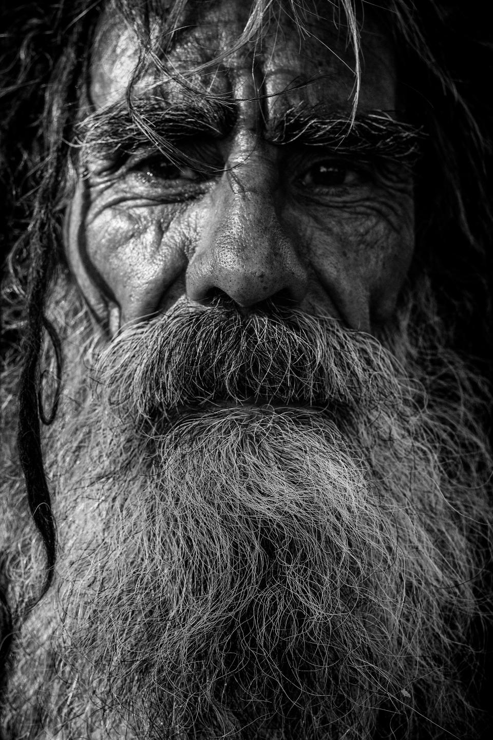 Elderly old people person man male beard hair black and