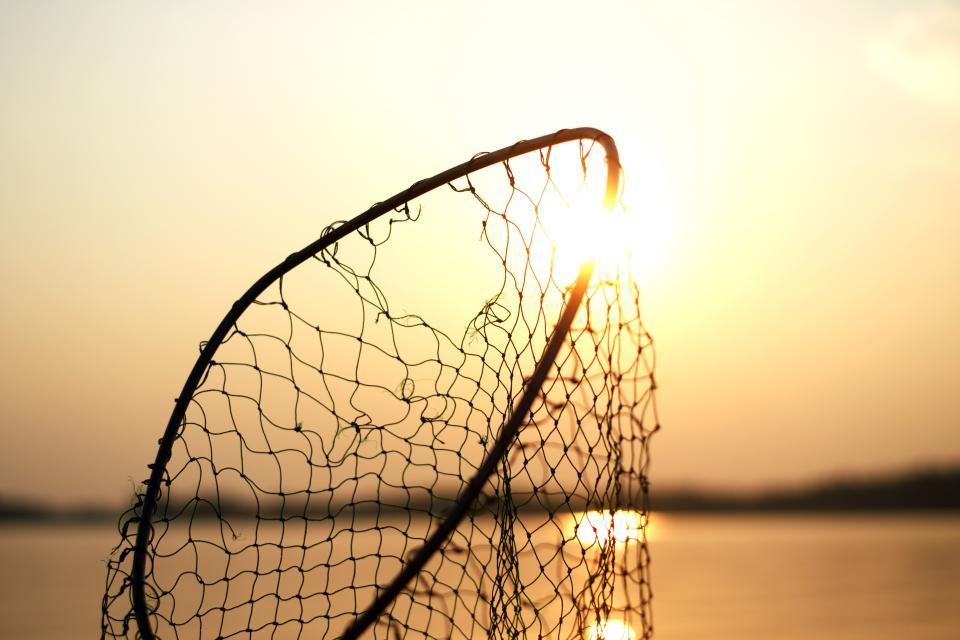 net fishing steel sun water sea nature bokeh blur sunset hole broken damage
