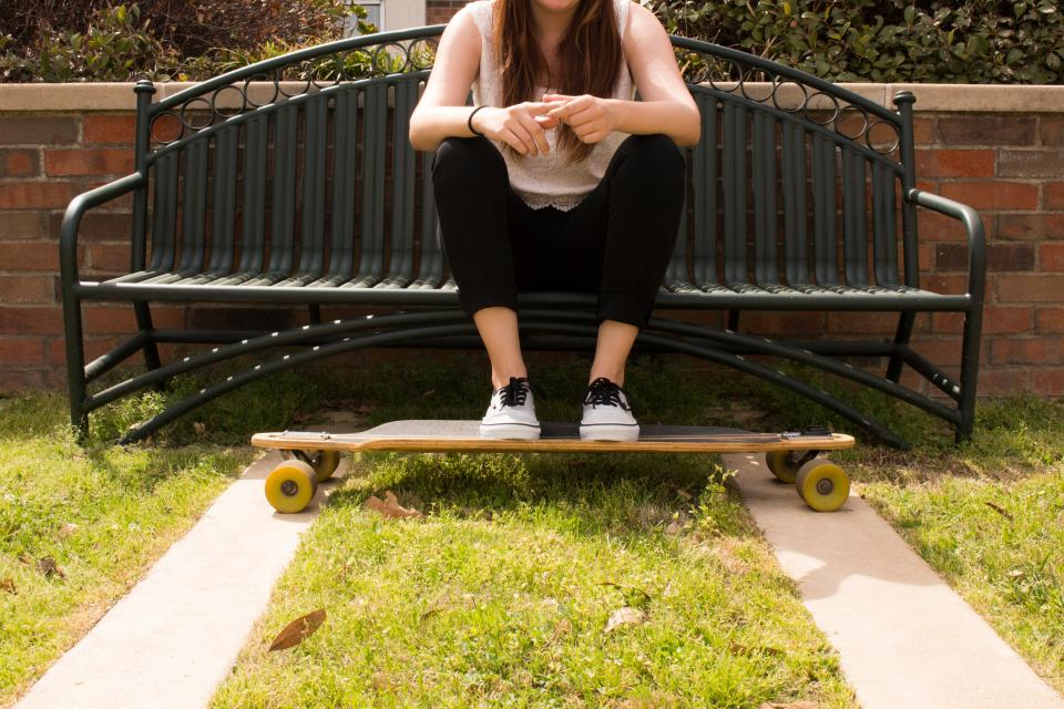 bench, steel, people, girl, sitting, alone, skateboard, shoe, footwear, sport, game, grass
