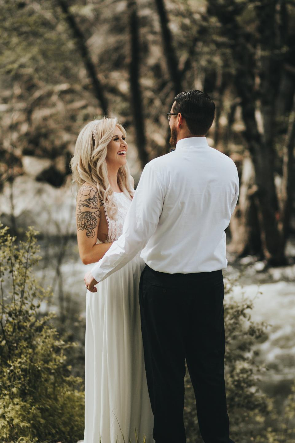 people, woman, man, guy, smile, happy, couple, love, tattoo, wedding, bride, groom, white, gown, blur, outdoor