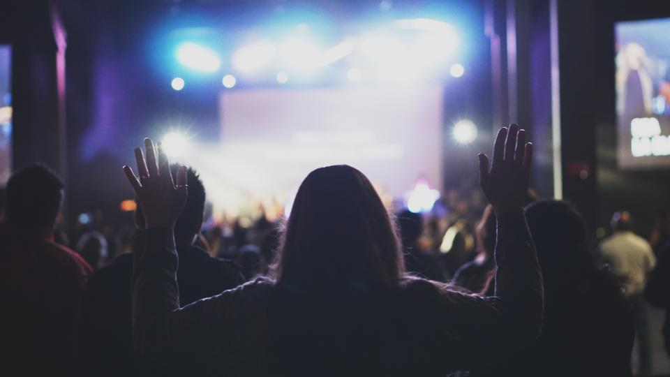 people, woman, dark, night, worship, concert, praise, stage, sing, band, instrument, lights