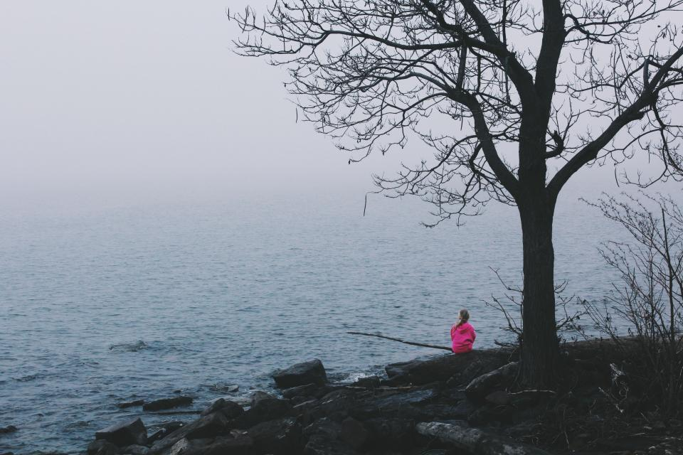 people, kid, child, girl, fishing, outdoor, tree, plant, nature, coast, sea, ocean, water