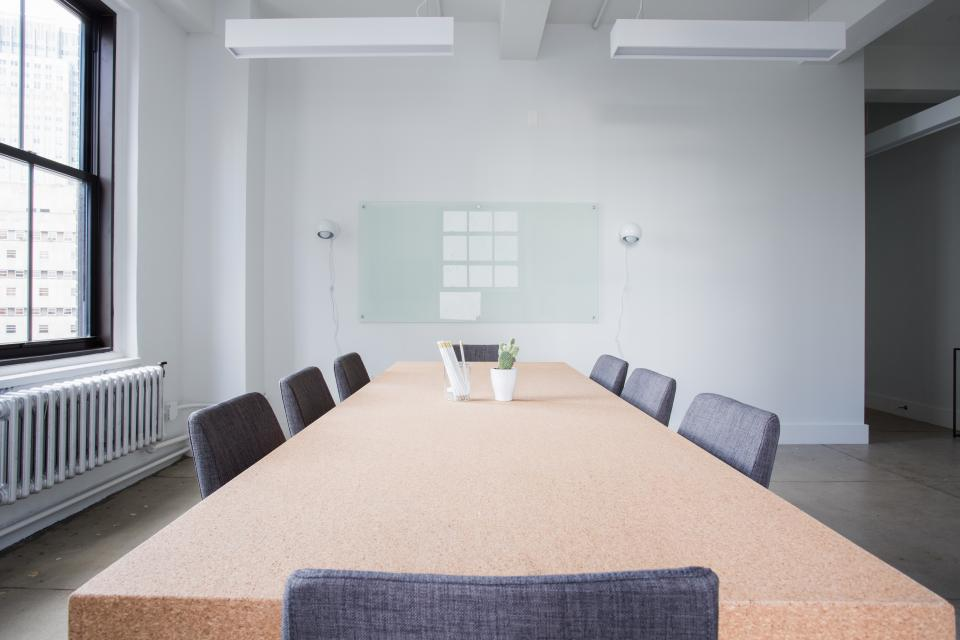 interior, table, chairs, wall, window, glass, frame, flower, vase, office, meeting, room