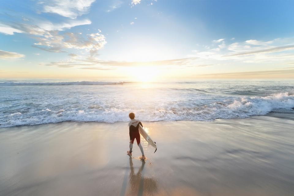 sea, ocean, water, waves, nature, rocks, horizon, blue, sky, clouds, sunrise, coast, shore, beach, people, man, surfing, sport, adventure