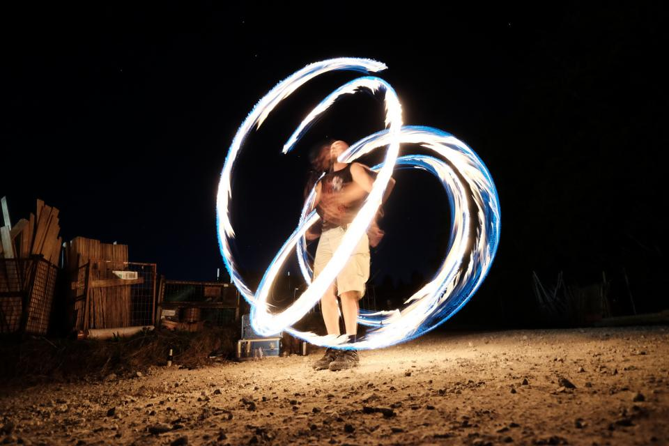 people, man, dancer, dancing, firedance, skill, dark, night, light, fire, event, wood