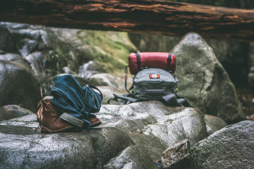 rocks, bag, outdoor, adventure, shoes, jeans, camping, tent, nature, river